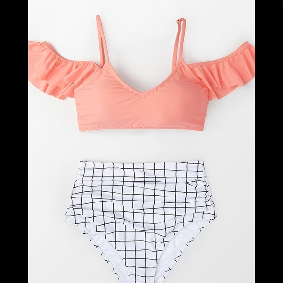 CUPSHE Pink&Windowpane High Waist Ruffled Bikini